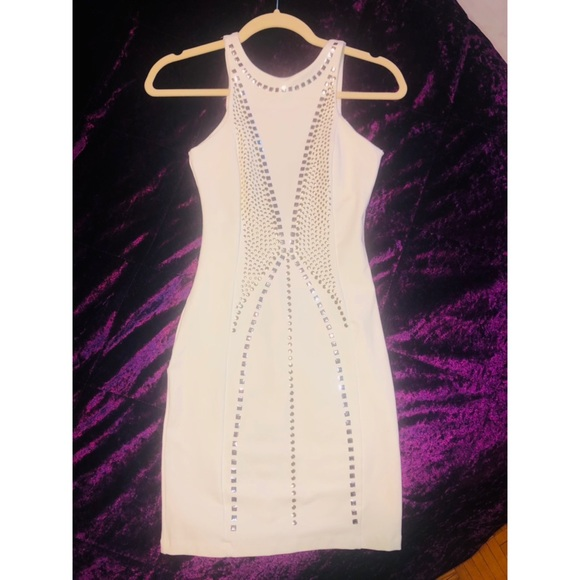 White dress with studs